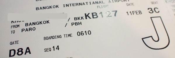 Billet d'avion Bangkok/Paro