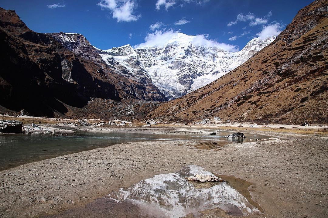 Mont Chomolhari couvert de neige