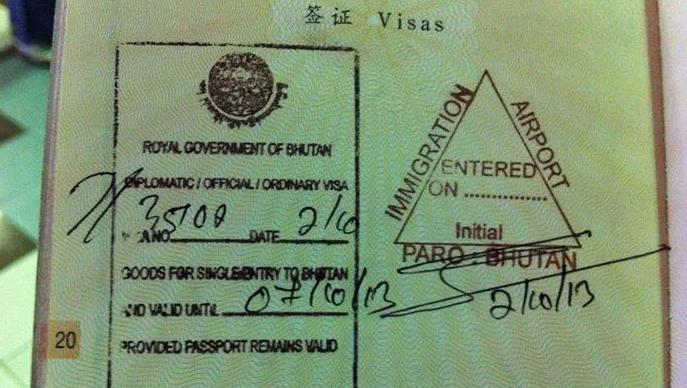 Visa pour le Bhoutan